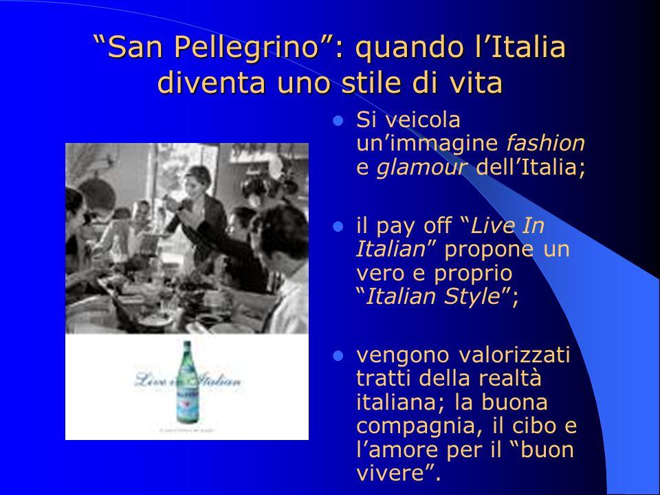 San Pellegrino: quando lItalia diventa uno stile di vita Si veicola unimmagine fashion e glamour dellItalia; il pay off Live In Italian propone un ver