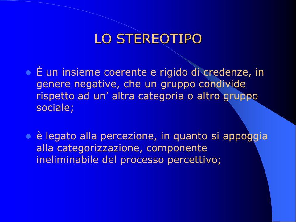 LO STEREOTIPO È un insieme coerente e rigido di credenze, in genere negative, che un gruppo condivide rispetto ad un altra categoria o altro gruppo so