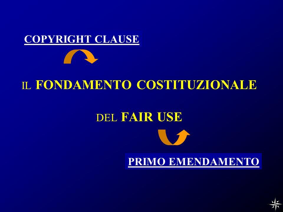 IL FONDAMENTO COSTITUZIONALE DEL FAIR USE COPYRIGHT CLAUSE PRIMO EMENDAMENTO