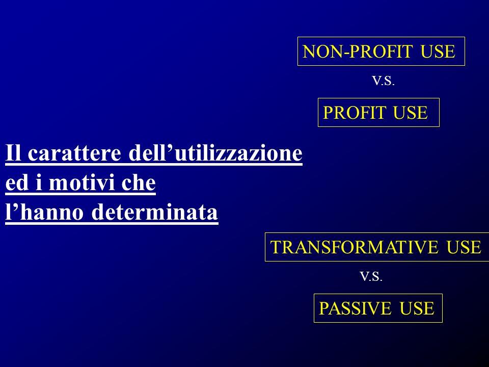 Il carattere dellutilizzazione ed i motivi che lhanno determinata PROFIT USE NON-PROFIT USE TRANSFORMATIVE USE PASSIVE USE V.S.
