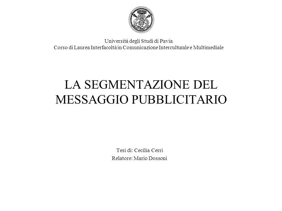 LA SEGMENTAZIONE DEL MESSAGGIO PUBBLICITARIO Tesi di: Cecilia Cerri Relatore: Mario Dossoni Università degli Studi di Pavia Corso di Laurea Interfacol