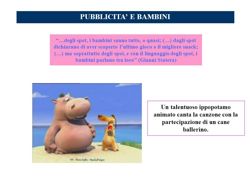 PUBBLICITA E BAMBINI Un talentuoso ippopotamo animato canta la canzone con la partecipazione di un cane ballerino. …degli spot, i bambini sanno tutto,