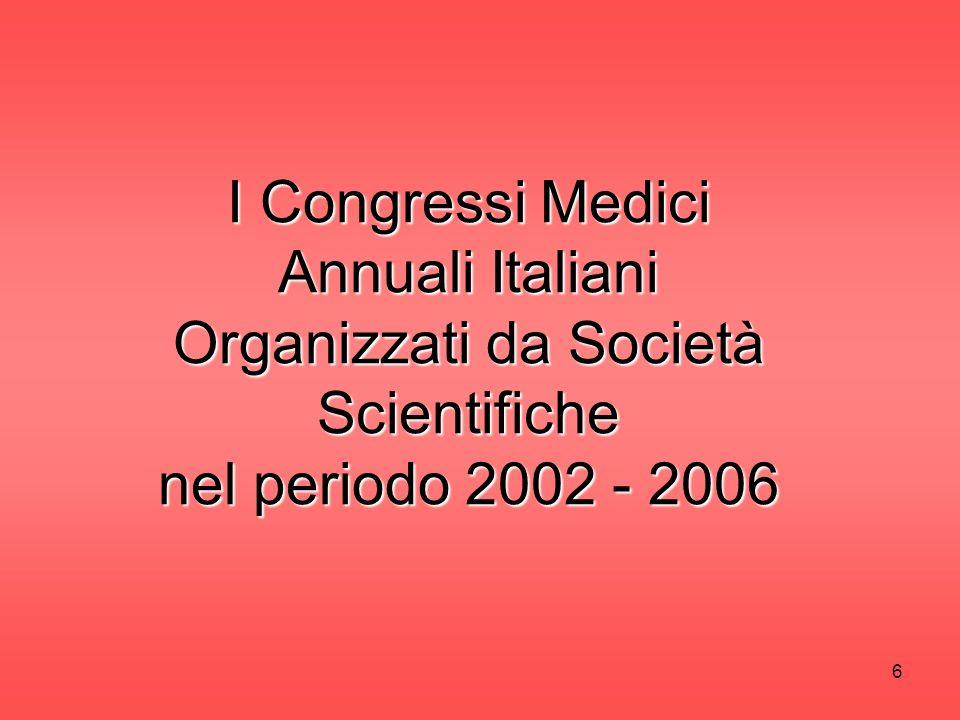 6 I Congressi Medici Annuali Italiani Organizzati da Società Scientifiche nel periodo 2002 - 2006