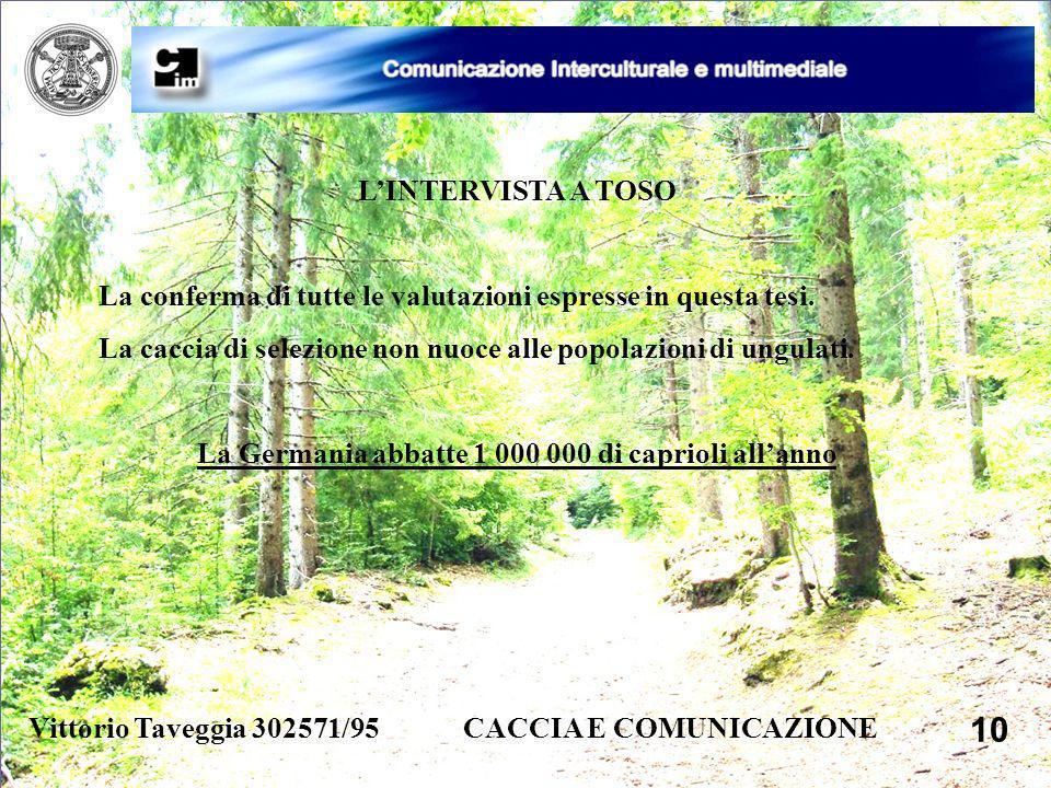 Vittorio Taveggia 302571/95 CACCIA E COMUNICAZIONE 10 LINTERVISTA A TOSO La conferma di tutte le valutazioni espresse in questa tesi. La caccia di sel