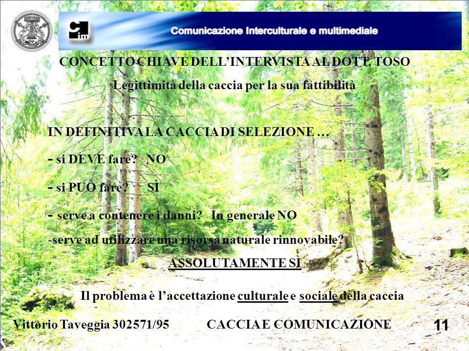 Vittorio Taveggia 302571/95 CACCIA E COMUNICAZIONE 11 CONCETTO CHIAVE DELLINTERVISTA AL DOTT. TOSO Legittimità della caccia per la sua fattibilità IN