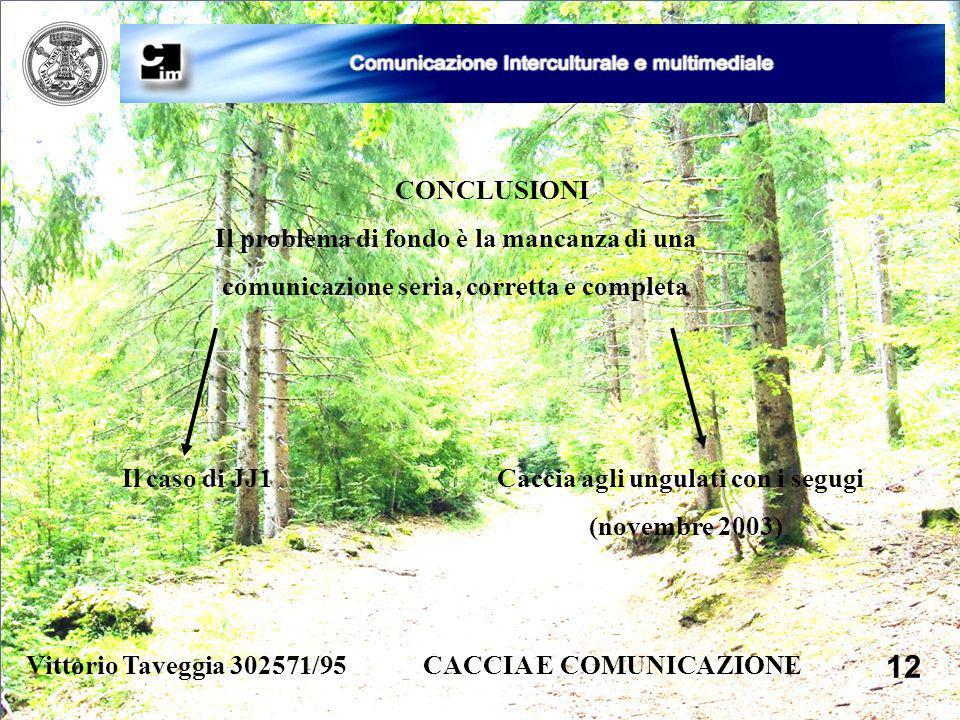 Vittorio Taveggia 302571/95 CACCIA E COMUNICAZIONE 12 CONCLUSIONI Il problema di fondo è la mancanza di una comunicazione seria, corretta e completa I