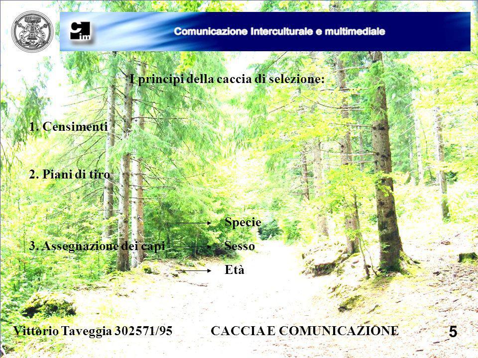 Vittorio Taveggia 302571/95 CACCIA E COMUNICAZIONE 5 I principi della caccia di selezione: 1. Censimenti 2. Piani di tiro Specie 3. Assegnazione dei c