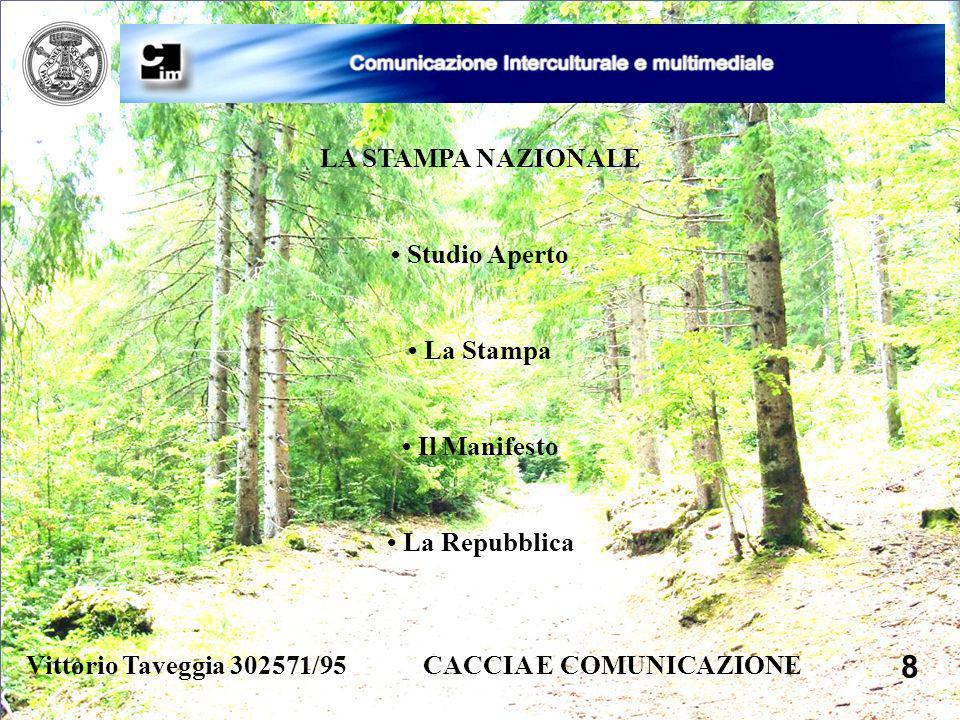 Vittorio Taveggia 302571/95 CACCIA E COMUNICAZIONE 8 LA STAMPA NAZIONALE Studio Aperto La Stampa Il Manifesto La Repubblica