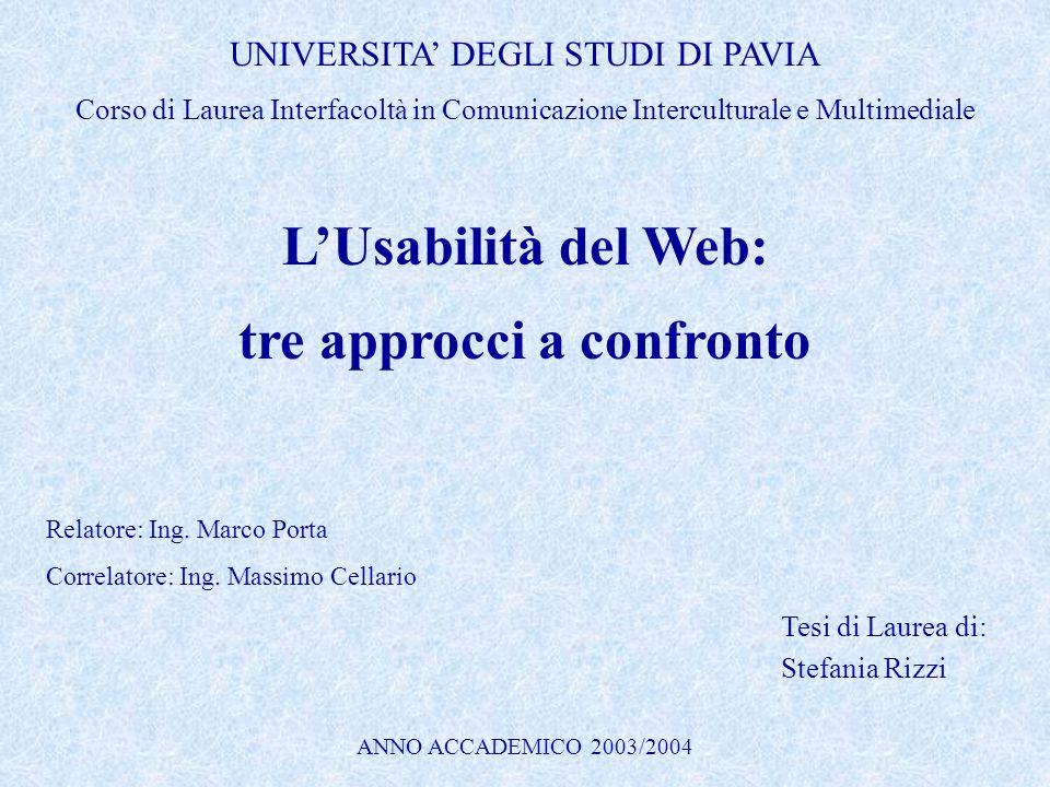 LUsabilità del Web: tre approcci a confronto Tesi di Laurea di: Stefania Rizzi UNIVERSITA DEGLI STUDI DI PAVIA Corso di Laurea Interfacoltà in Comunic