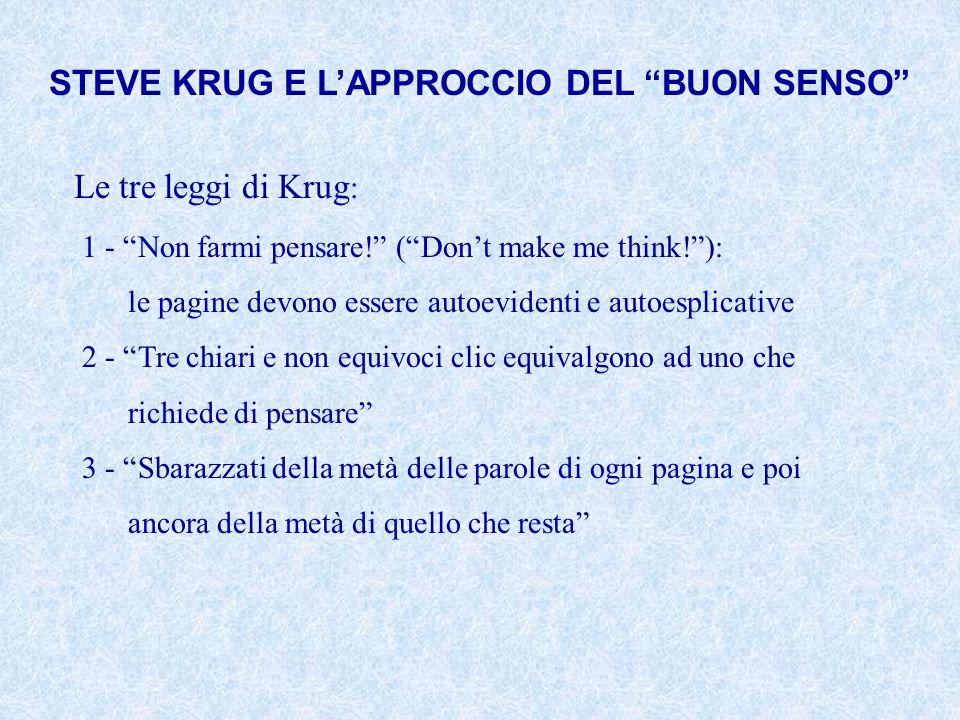 STEVE KRUG E LAPPROCCIO DEL BUON SENSO Le tre leggi di Krug : 1 - Non farmi pensare! (Dont make me think!): le pagine devono essere autoevidenti e aut