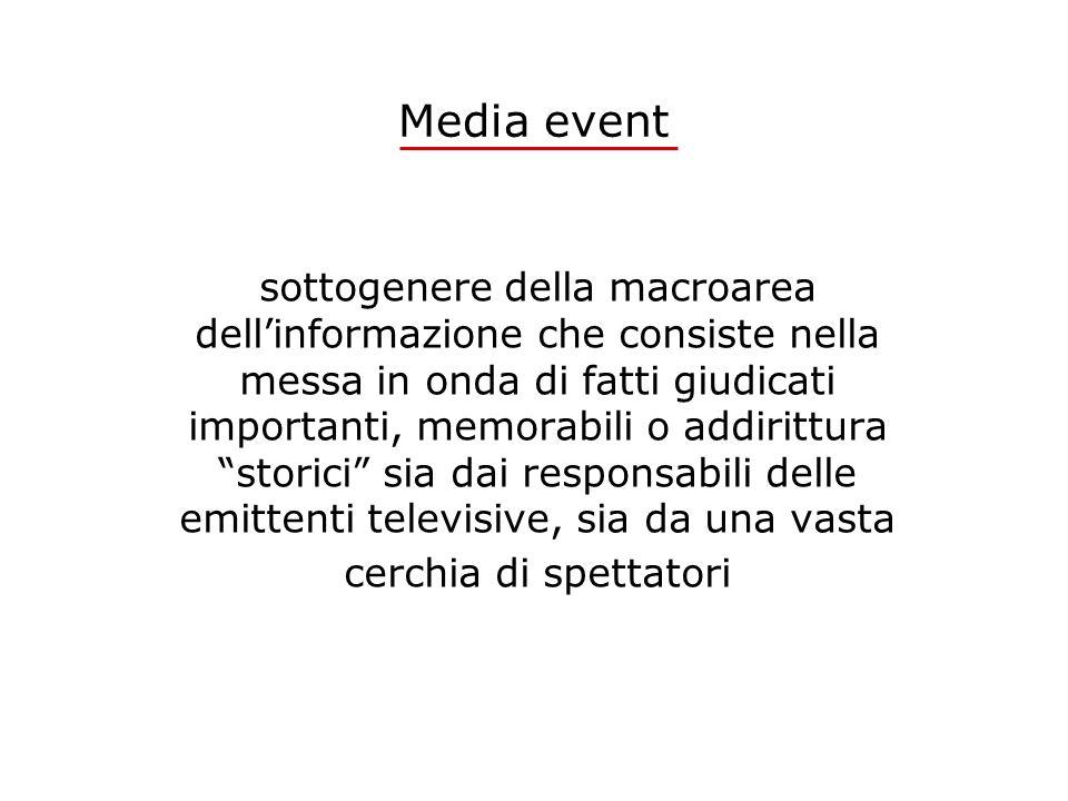 Media event sottogenere della macroarea dellinformazione che consiste nella messa in onda di fatti giudicati importanti, memorabili o addirittura stor