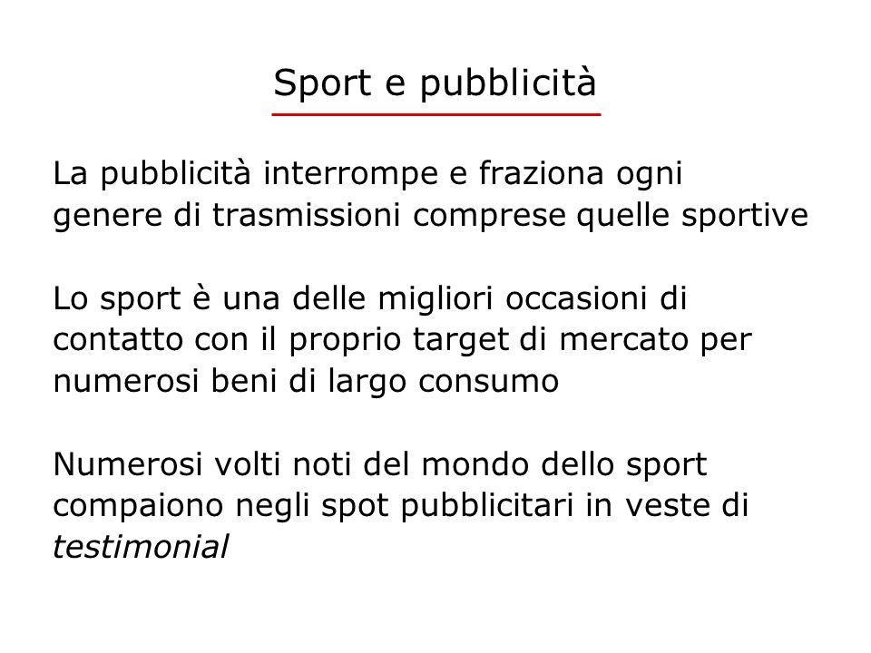 Sport e pubblicità La pubblicità interrompe e fraziona ogni genere di trasmissioni comprese quelle sportive Lo sport è una delle migliori occasioni di