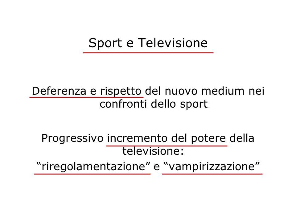Sport e Televisione Deferenza e rispetto del nuovo medium nei confronti dello sport Progressivo incremento del potere della televisione: riregolamenta