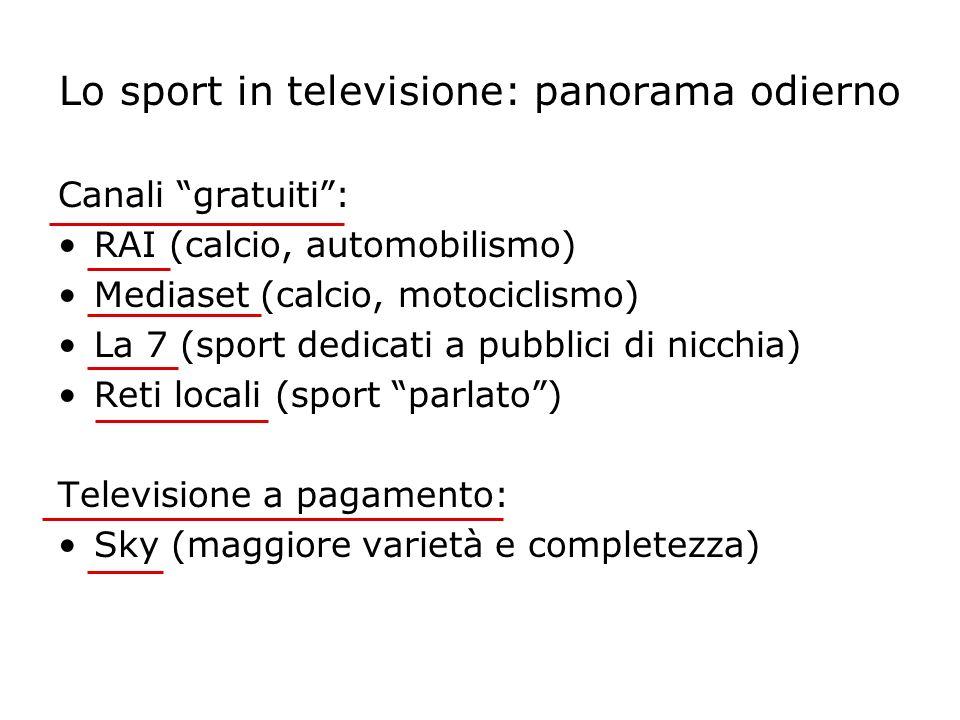 Lo sport in televisione: panorama odierno Canali gratuiti: RAI (calcio, automobilismo) Mediaset (calcio, motociclismo) La 7 (sport dedicati a pubblici