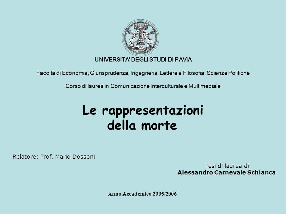 Le rappresentazioni della morte Anno Accademico 2005/2006 UNIVERSITA DEGLI STUDI DI PAVIA Facoltà di Economia, Giurisprudenza, Ingegneria, Lettere e F