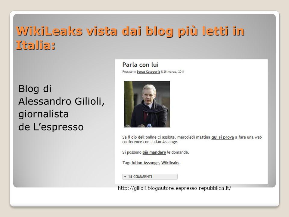 WikiLeaks vista dai blog più letti in Italia: Blog di Alessandro Gilioli, giornalista de Lespresso http://gilioli.blogautore.espresso.repubblica.it/