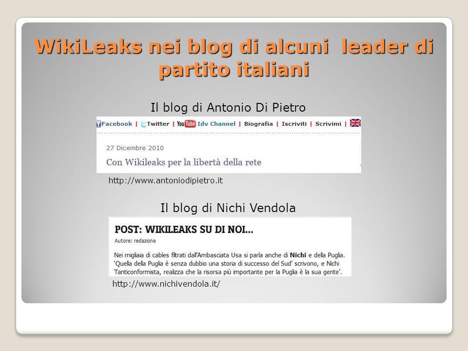 WikiLeaks nei blog di alcuni leader di partito italiani Il blog di Antonio Di Pietro Il blog di Nichi Vendola http://www.antoniodipietro.it http://www.nichivendola.it/