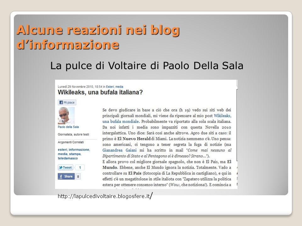 Alcune reazioni nei blog dinformazione La pulce di Voltaire di Paolo Della Sala http://lapulcedivoltaire.blogosfere.it /