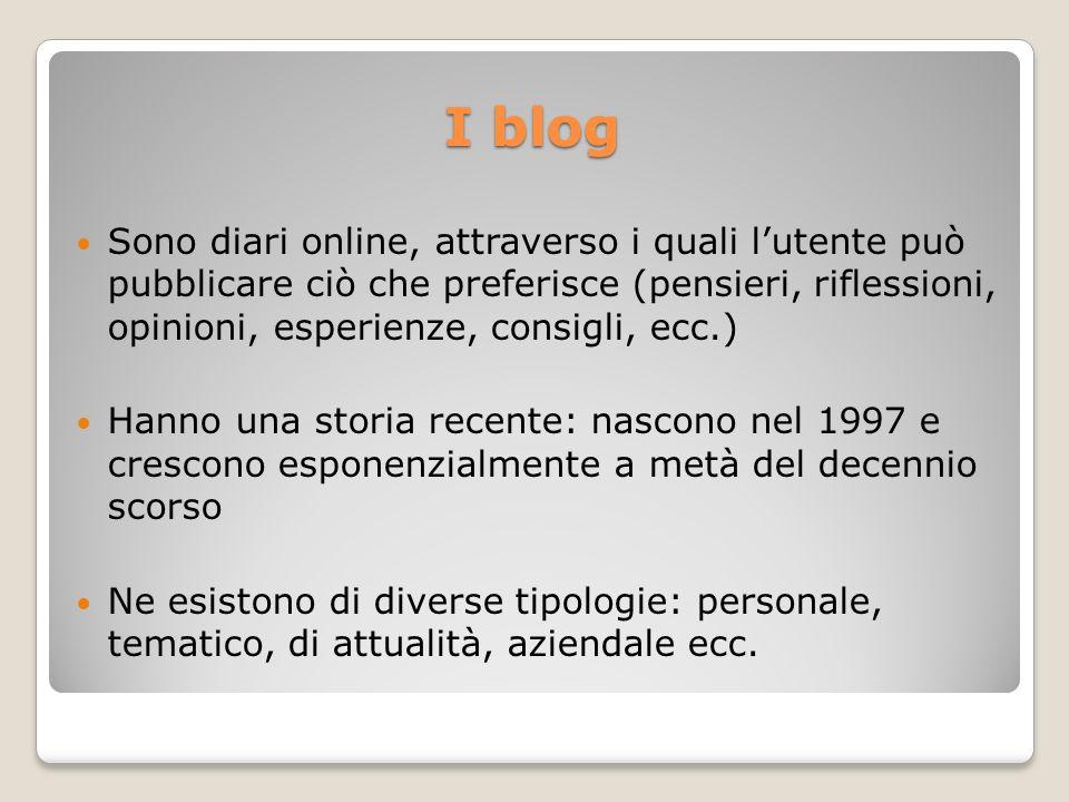 I blog Sono diari online, attraverso i quali lutente può pubblicare ciò che preferisce (pensieri, riflessioni, opinioni, esperienze, consigli, ecc.) H