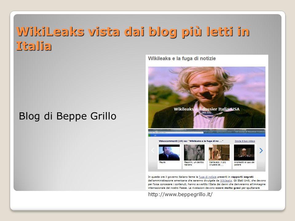 WikiLeaks vista dai blog più letti in Italia Blog di Beppe Grillo http://www.beppegrillo.it/