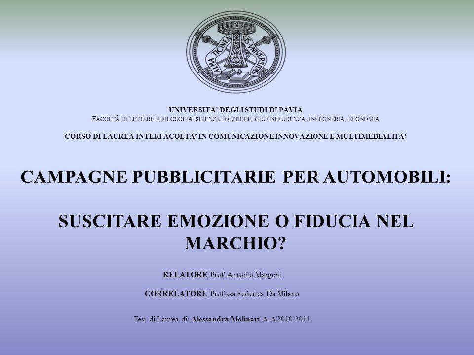 RELATORE : Prof. Antonio Margoni CORRELATORE: Prof.ssa Federica Da Milano Tesi di Laurea di: Alessandra Molinari A.A 2010/2011 UNIVERSITA DEGLI STUDI
