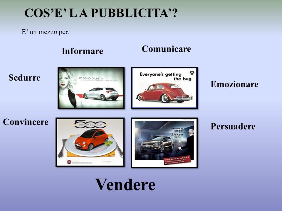 COSE L A PUBBLICITA? Persuadere Emozionare Sedurre Informare Comunicare E un mezzo per: Convincere Vendere