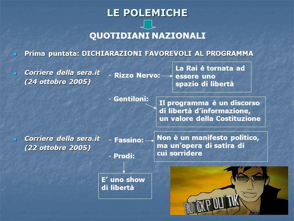 LE POLEMICHE Prima puntata: DICHIARAZIONI FAVOREVOLI AL PROGRAMMA Prima puntata: DICHIARAZIONI FAVOREVOLI AL PROGRAMMA Corriere della sera.it Corriere
