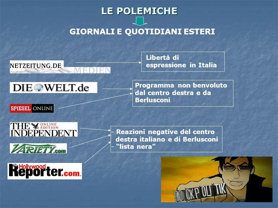 LE POLEMICHE GIORNALI E QUOTIDIANI ESTERI Libertà di espressione in Italia Programma non benvoluto dal centro destra e da Berlusconi - Reazioni negati