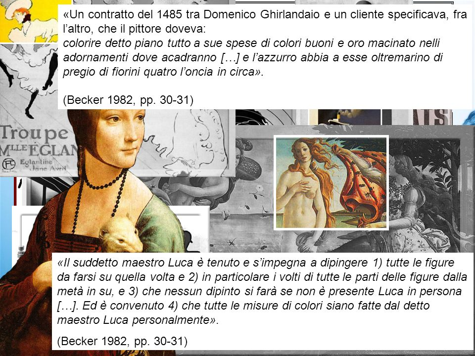 The history of modern art is often overlaps with that of advertising To advance emotional and cognitive others reaction 3 The meanings of the word art are always evolving Advertising Agencies Renaissance artist and advertiser Work, Author and User to work «Il suddetto maestro Luca è tenuto e simpegna a dipingere 1) tutte le figure da farsi su quella volta e 2) in particolare i volti di tutte le parti delle figure dalla metà in su, e 3) che nessun dipinto si farà se non è presente Luca in persona […].