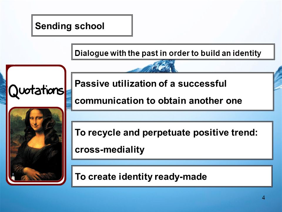 4 To recycle and perpetuate positive trend: cross-mediality Sending school Passive utilization of a successful communication to obtain another one To create identity ready-made Dialogue with the past in order to build an identity