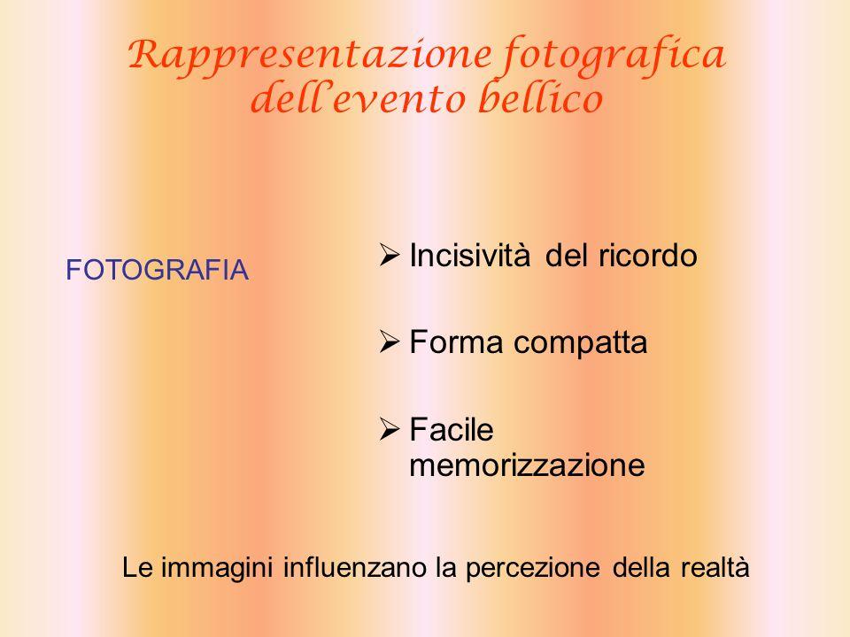 Rappresentazione fotografica dellevento bellico Incisività del ricordo Forma compatta Facile memorizzazione FOTOGRAFIA Le immagini influenzano la perc