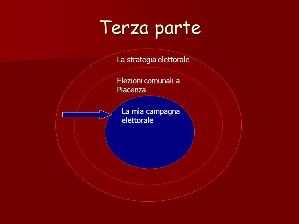 Terza parte La strategia elettorale Elezioni comunali a Piacenza La mia campagna elettorale