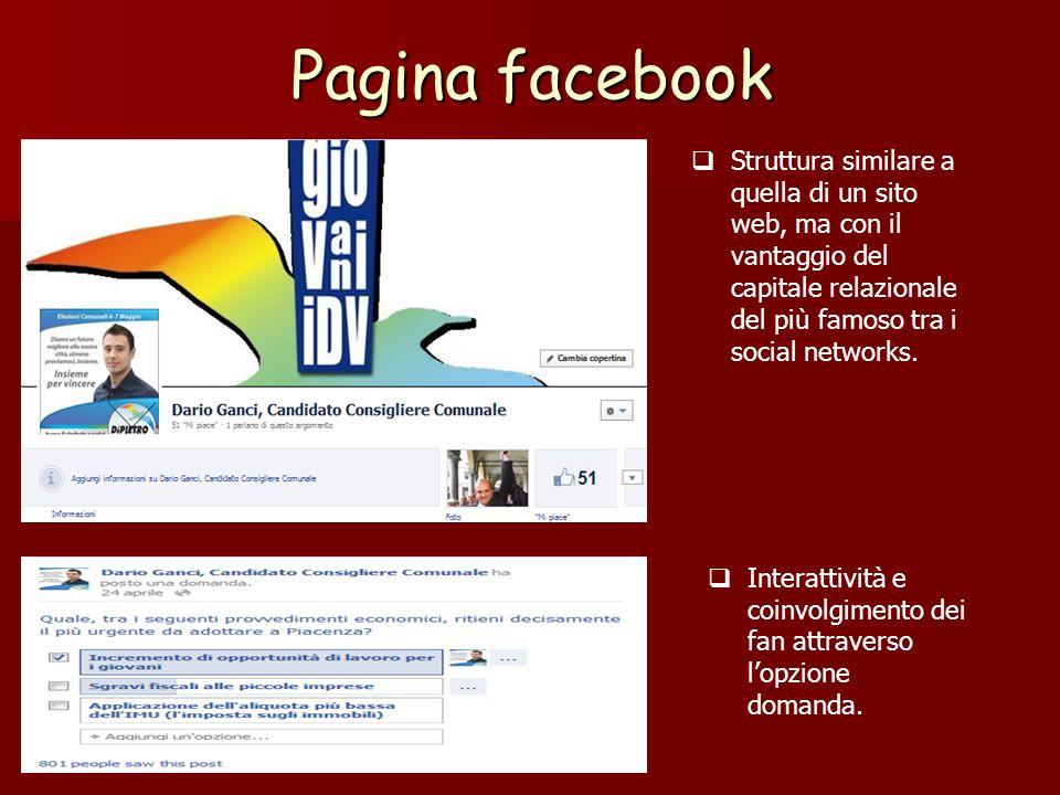 Pagina facebook Struttura similare a quella di un sito web, ma con il vantaggio del capitale relazionale del più famoso tra i social networks. Interat