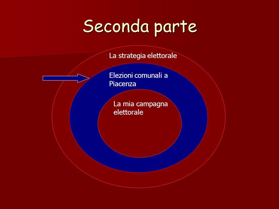Seconda parte La strategia elettorale Elezioni comunali a Piacenza La mia campagna elettorale