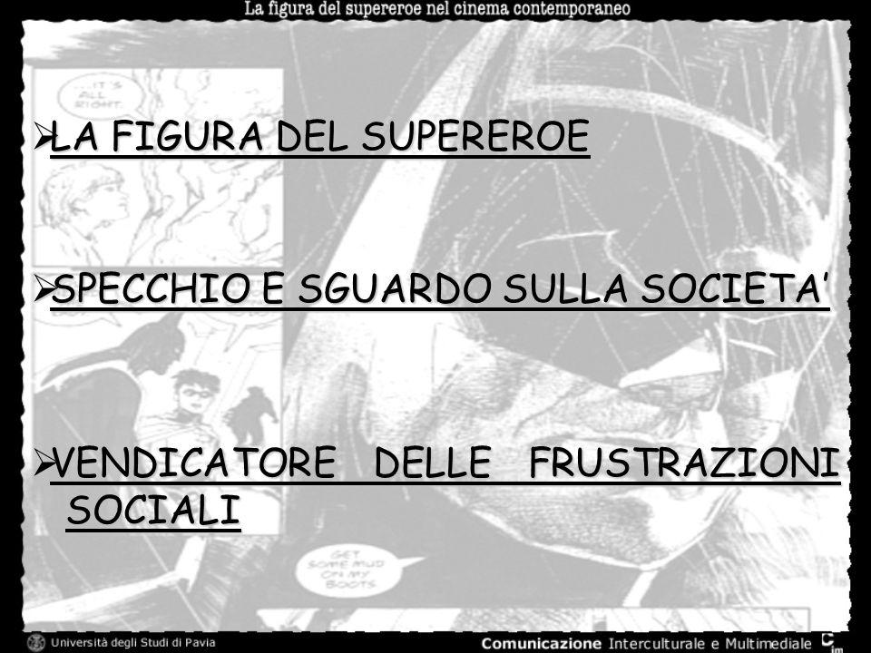 LA FIGURA DEL SUPEREROE LA FIGURA DEL SUPEREROE SPECCHIO E SGUARDO SULLA SOCIETA SPECCHIO E SGUARDO SULLA SOCIETA VENDICATORE DELLE FRUSTRAZIONI SOCIA