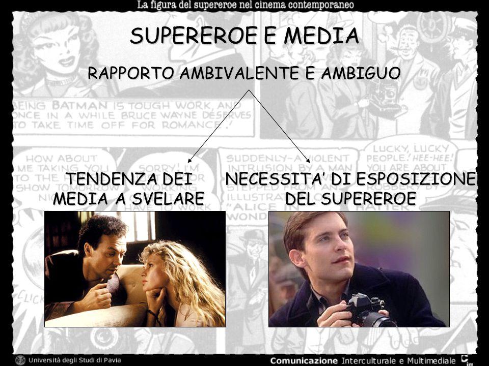 SUPEREROE E MEDIA RAPPORTO AMBIVALENTE E AMBIGUO TENDENZA DEI MEDIA A SVELARE NECESSITA DI ESPOSIZIONE DEL SUPEREROE