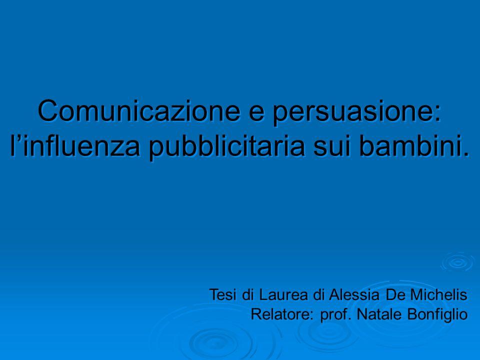 Comunicazione e persuasione: linfluenza pubblicitaria sui bambini. Comunicazione e persuasione: linfluenza pubblicitaria sui bambini. Tesi di Laurea d