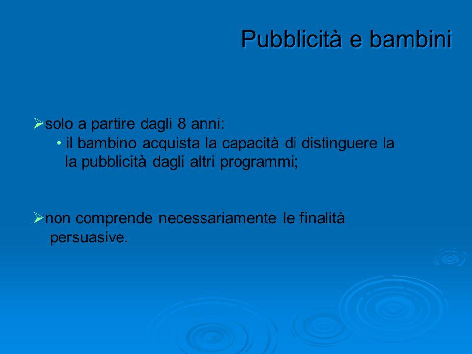 Pubblicità e bambini solo a partire dagli 8 anni: il bambino acquista la capacità di distinguere la la pubblicità dagli altri programmi; non comprende