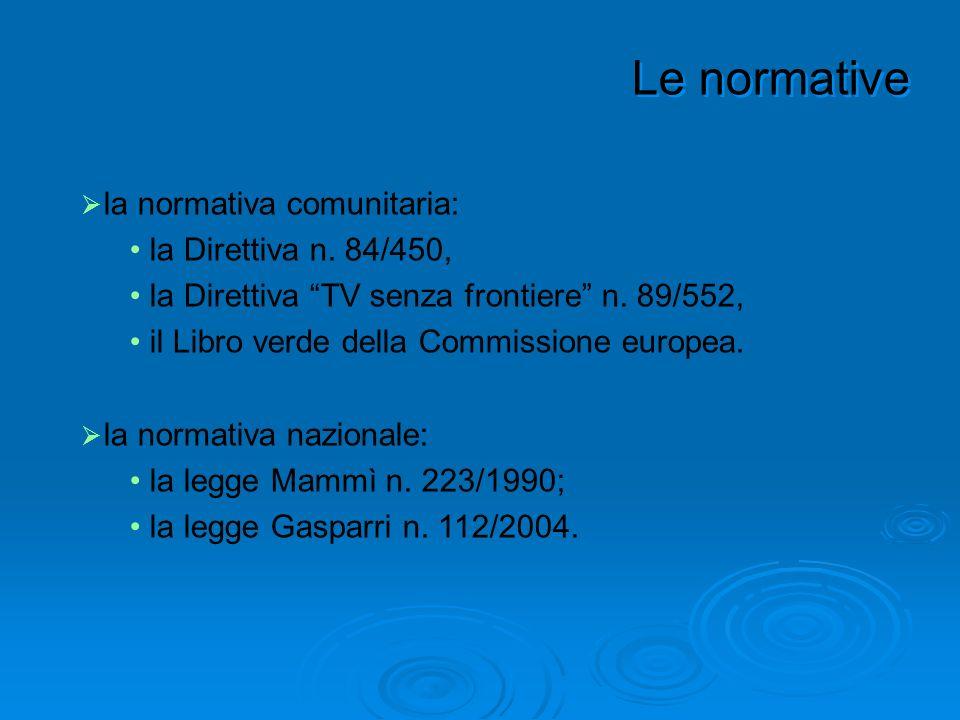 la normativa comunitaria: la Direttiva n. 84/450, la Direttiva TV senza frontiere n. 89/552, il Libro verde della Commissione europea. la normativa na