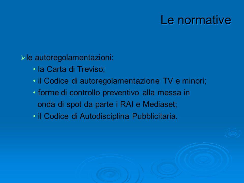 le autoregolamentazioni: la Carta di Treviso; il Codice di autoregolamentazione TV e minori; forme di controllo preventivo alla messa in onda di spot