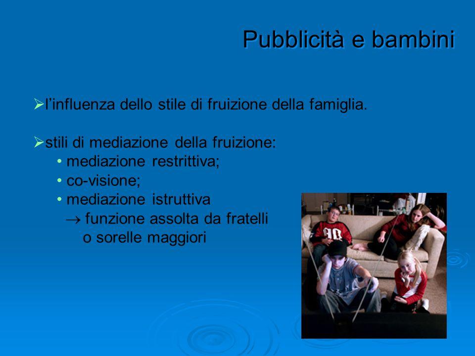 Pubblicità e bambini linfluenza dello stile di fruizione della famiglia. stili di mediazione della fruizione: mediazione restrittiva; co-visione; medi