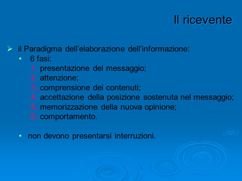 il Paradigma dellelaborazione dellinformazione: 6 fasi: 1.presentazione del messaggio; 2.attenzione; 3.comprensione dei contenuti; 4.accettazione dell