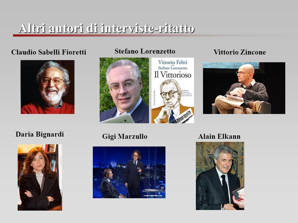Altri autori di interviste-ritatto Claudio Sabelli Fioretti Stefano Lorenzetto Vittorio Zincone Daria Bignardi Gigi Marzullo Alain Elkann