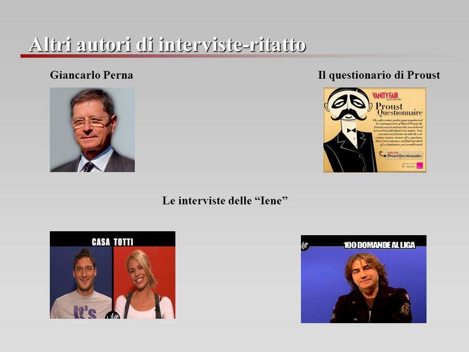 Altri autori di interviste-ritatto Giancarlo Perna Il questionario di Proust Le interviste delle Iene