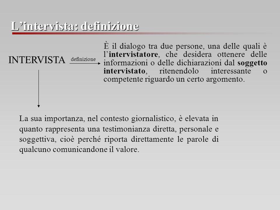 Lintervista: definizione È il dialogo tra due persone, una delle quali è lintervistatore, che desidera ottenere delle informazioni o delle dichiarazio