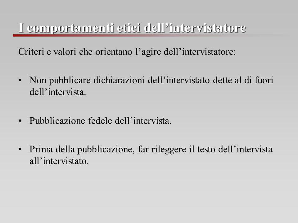 I comportamenti etici dellintervistatore Criteri e valori che orientano lagire dellintervistatore: Non pubblicare dichiarazioni dellintervistato dette