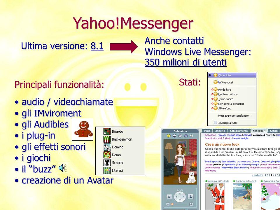 Yahoo!Messenger Ultima versione: 8.1 Anche contatti Windows Live Messenger: Principali funzionalità: audio / videochiamate audio / videochiamate gli I
