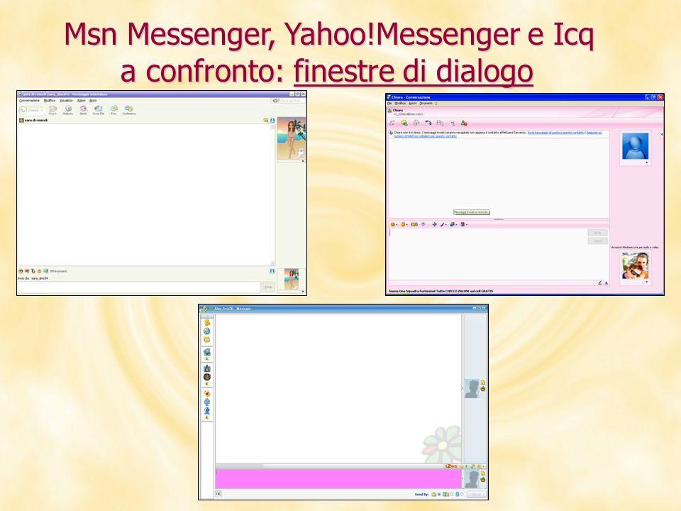 Msn Messenger, Yahoo!Messenger e Icq a confronto: finestre di dialogo