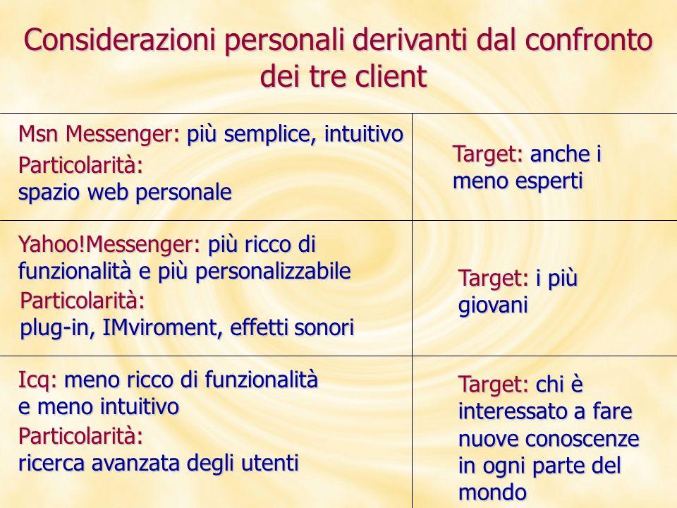 Considerazioni personali derivanti dal confronto dei tre client Msn Messenger: più semplice, intuitivo Particolarità: spazio web personale Yahoo!Messe