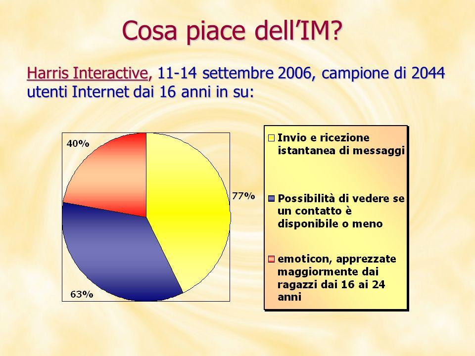 Harris Interactive, 11-14 settembre 2006, campione di 2044 utenti Internet dai 16 anni in su: Cosa piace dellIM?